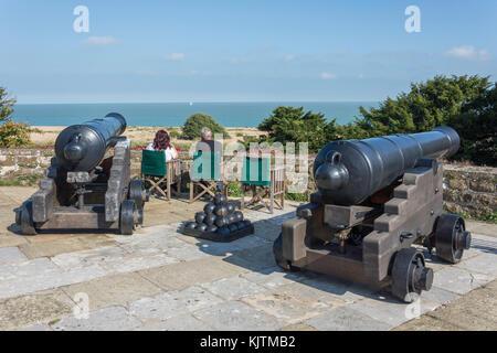 Cannons on castle's firing platform, Walmer Castle & Gardens, Kingsdown Road, Walmer, Deal, Kent, England, United Kingdom