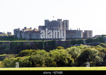 11th century Dover Castle from Castle Hill, Dover, Kent, England, United Kingdom - Stock Photo