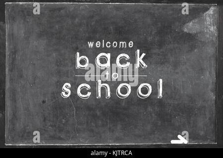school board, Back to School written on a black chalkboard. - Stock Photo