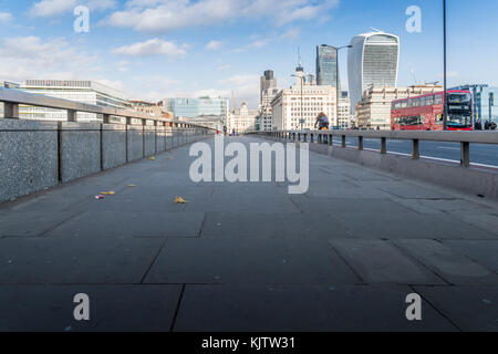 London, UK - November 22nd, 2017: Anti-vehicle barriers erected on the pavement on London Bridge in the Borough - Stock Photo