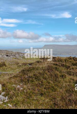 Scenic view of Benbulben in County Sligo, Ireland as seen from the summit of Knocknarea. - Stock Photo