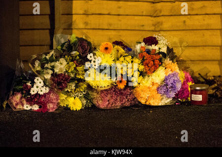 Leeds, UK. 26th Nov, 2017. Scene of the road traffic accident on Stonegate Road in Leeds on 25 November 2017.  It - Stock Photo
