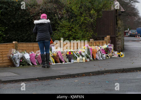Leeds, UK. 27 November 2017. Police remain at the scene of Saturday's car accident on Stonegate Road in Leeds, whilst - Stock Photo