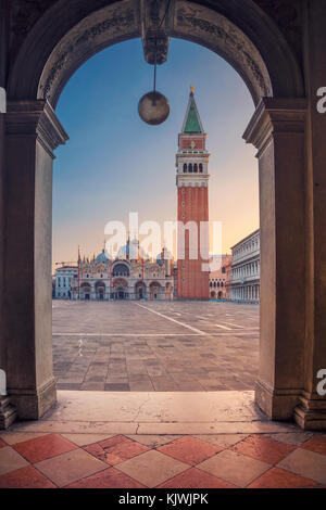Venice. Cityscape image of St. Mark's square in Venice during sunrise. - Stock Photo