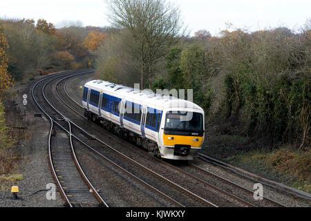 Chiltern Railways class 165 train at Hatton, Warwickshire, UK - Stock Photo