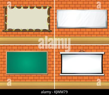 Four different types of boards on wall illustration - Stock Photo