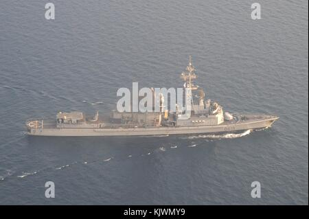 The French Navy Cassard-class anti-air defense destroyer frigate FS Jean Bart steams underway September 19, 2017 - Stock Photo