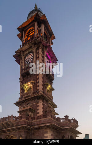'Ghanta Ghar', also known as the clock tower of Rajasthan, in the Indian city of Jodhpur, in the evening light - Stock Photo