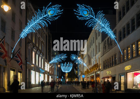 LONDON - NOVEMBER 25, 2017: Christmas lights on New Bond Street. The already glamorous area has been given a glittering - Stock Photo