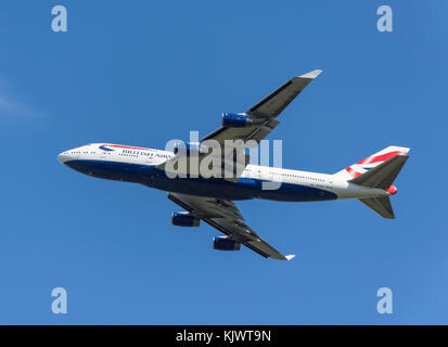 British Airways Boeing 747-436 taking off from Heathrow Airport, Greater London, England, United Kingdom - Stock Photo