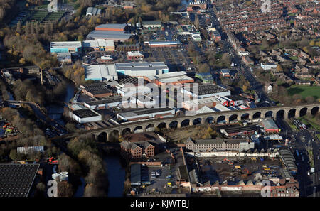 aerial view of Kirkstall Road railway viaduct, Leeds, UK - Stock Photo