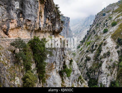 High level path carved into the sheer rock face of the Cares Gorge a deep and dramatic canyon running through  the - Stock Photo