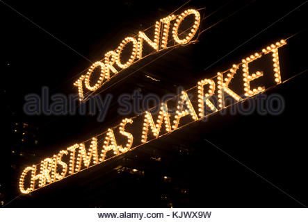 Toronto, Canada: Christmas Market in the Distillery District during the nighttime - Stock Photo