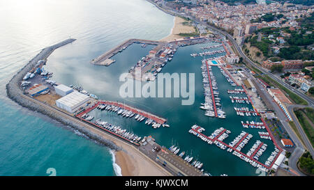 Aerial photography of Arenys de Mar marina in Spain - Stock Photo