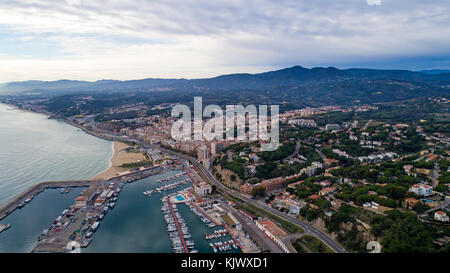 Aerial photography of Arenys de Mar city in Spain - Stock Photo