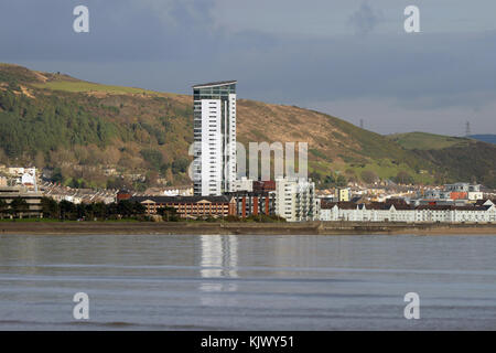 Swansea City of culture bid 2021 Swansea marina quarter with waterfront buildings and reflections in the bay viewed - Stock Photo