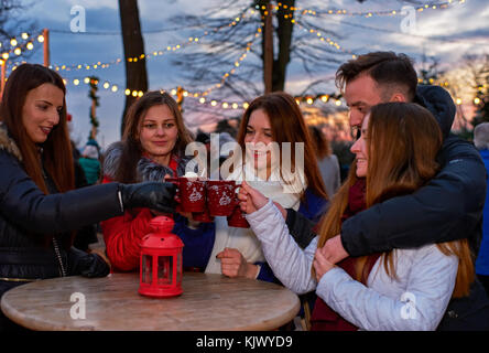 Five young people drinking mulled wine at Christmas market - Stock Photo