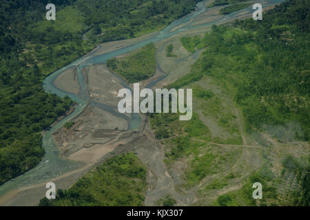 River Pacuare,Mountains Talamanca,Limón, Limón Province, Costa Rica, aerial view. Photo by: Roberto Carlos Sánchez - Stock Photo