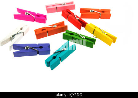 colorful wooden clothespin isolated on white background - Stock Photo