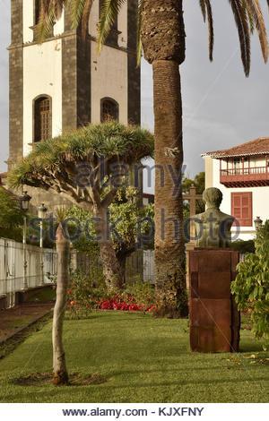Church backyard garden with tropical plants in Santa Cruz De Tenerife Canary Islands - Stock Photo