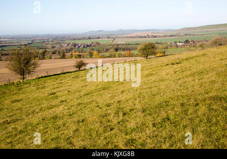 View of the Vale of Pewsey looking west from Woodborough Hill, Wilcot, Wiltshire, England, UK - Stock Photo