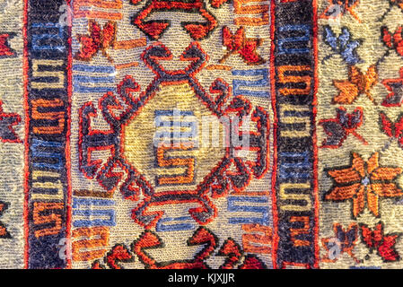 Handmade woven rug and tapestry,vintage carpets on a Turkish bazaar. Traditional Turkey rugs  in Egypt Bazaar Turkey - Stock Photo