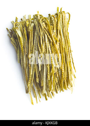 Green soybean fettuccine isolated on white background. Gluten Free, high fibre pasta. - Stock Photo