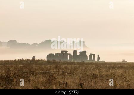 England, Wiltshire, Stonehenge - Stock Photo