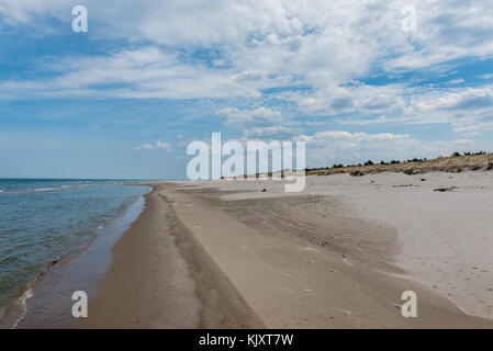 Wide beach in strict protection area of Slowinski National Park on the Baltic coast in Pomeranian Voivodeship, Poland - Stock Photo