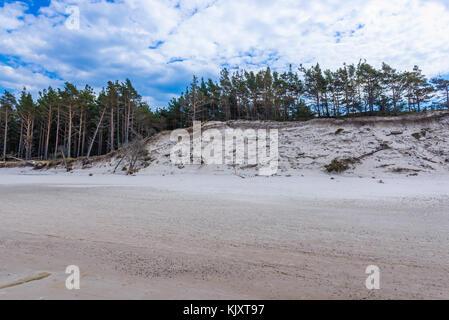 Beach near Leba town in strict protection area of Slowinski National Park on the Baltic coast in Pomeranian Voivodeship, - Stock Photo