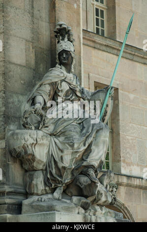 Roman Goddess of Wisdom Minerva stone statue at Les Invalides building in Paris France - Stock Photo