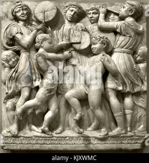 Boys playing music, illustration of Psalm 150 (Laudate Dominum).   1438' organ 1431-38 by Luca della Robbia 1399–1482, - Stock Photo
