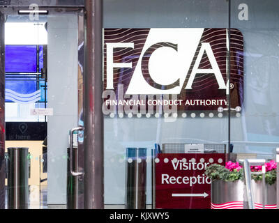FCA Financial Conduct Authority Canary Wharf London - UK Financial Regulator - Stock Photo