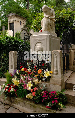 Tomb of Frederic Chopin a Polish composer and a piano virtuous buried in Père Lachaise Cemetery, Pairs, France - Stock Photo