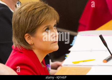 Politicians attend Scottish First Minister's Questions at Holyrood in Edinburgh.  Featuring: Nicola Sturgeon Where: - Stock Photo