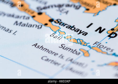 ... Close Up Of Bali And Other South Pacific Islands On A World Map   Stock  Photo