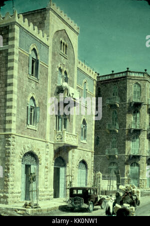 Newer Jerusalem and suburbs. Jaffa Road. Apartment houses built by Arabs. 1950 1977.matpc.23216 - Stock Photo