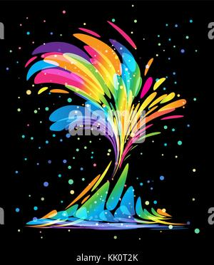 Multicolored splash elements on black background - Stock Photo
