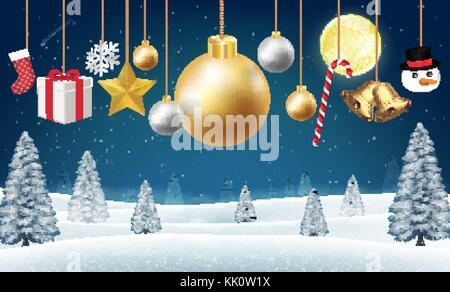 christmas hanging decorative on a winter hill - Stock Photo