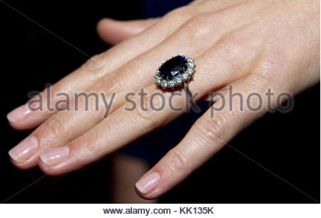 File photo dated 16/11/10 of the Duchess of Cambridge wearing her engagement ring which once belonged to Diana, - Stock Photo