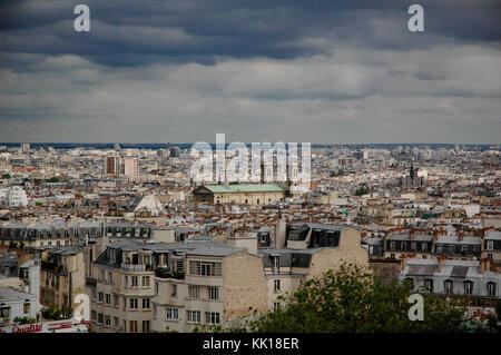 Paris skyline from the popular Montmartre summit - Stock Photo
