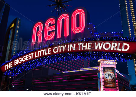 The famous Reno Arch in the Biggest Little City in the World, Nevada. - Stock Photo