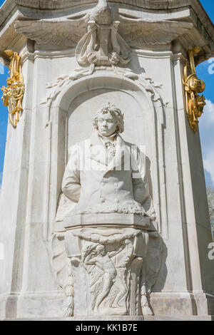 Statue of Beethoven on the Beethoven-Haydn-Mozart monument (denkmal) in the Tiergarten park, center of Berlin, Germany. - Stock Photo