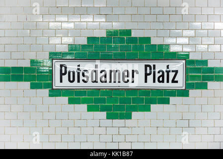 Berlin u-bahn Mitte, sign inside the Potsdamer Platz subway station in the center of Berlin, Germany. - Stock Photo