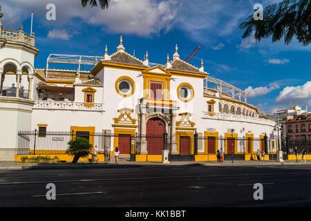 Bullring (Plaza de Toros de la Real Maestranza de Caballería de Sevilla), 1749, Seville, Andalucia, Spain - Stock Photo