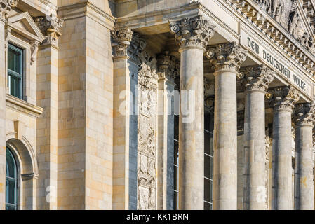 Berlin Parliament Building, detail of the pillars and inscription on the grand portico of the Reichstag building - Stock Photo