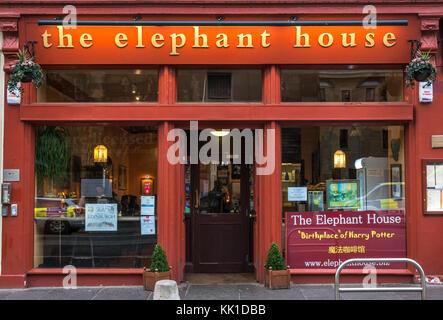 Elephant House cafe, location J K Rowling wrote Harry Potter and the Philosophers Stone, George IV Bridge, Edinburgh, - Stock Photo