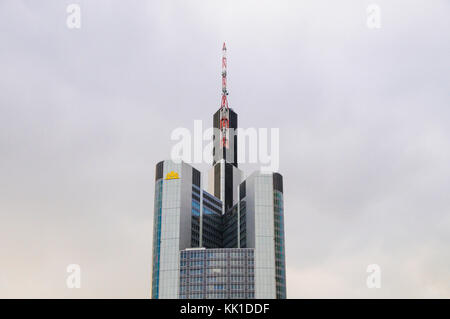 Top of Commerzbank  building in Frankfurt am Main, Germany - Stock Photo