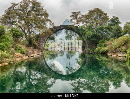 Fuli Bridge on the Yulong River Yangshuo China - Stock Photo