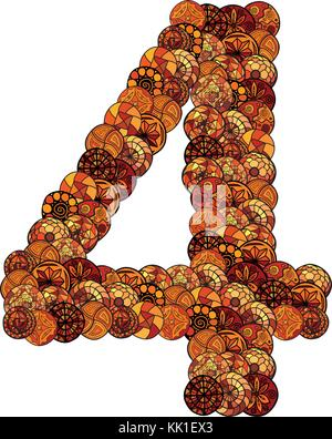abstract vector font, made of ethnic elements - number four - Stock Photo